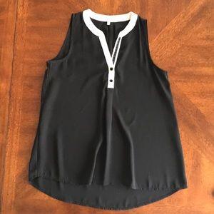 Monteau black/white sleeveless blouse top EUC M